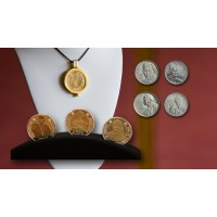 Pope medallions JP II, Juan XXIII, and Francisco + SET 4 coins JP II + one pendant to exchange medallions + leather necklace